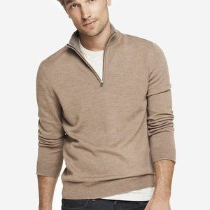 Morino Wool zip-up Mock Neck Sweater